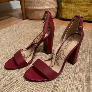 Sam Edelman deep red sandal heels size 8